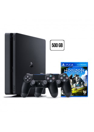 Consola Playstation 4 500 GB SLIM Black + 2 Controles + Horizon Zero Dawn