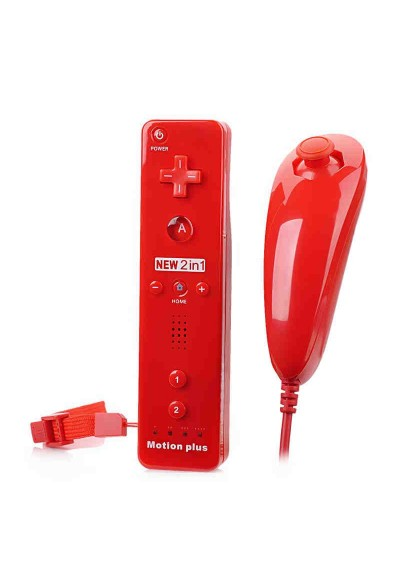 WII Remote + Motion Plus + Nunchuck RED